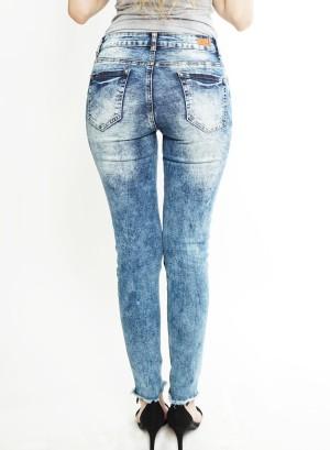 Tie-dye disstressed skinny jeans. MD007 Light Blue