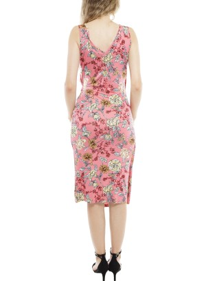 Sleeveless Tie-Side Wrap Asymmetric Floral Dress MD7K44BCU1-Coral