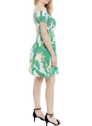 Smocked off-shoulder floral printed dress.MFDW7503-Green/White