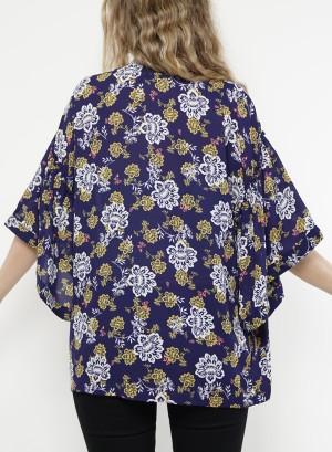 Floral Open Kimono.  MJ8W02BP2-Navy Floral