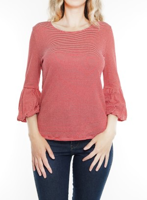 Bubble-bell sleeves round neck striped top. MT8KC4B-Red/white stripe