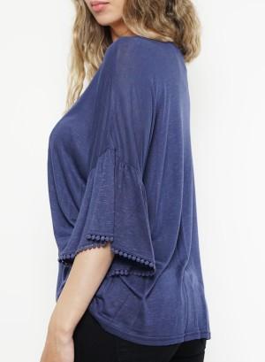 Bell-sleeves crochet-detail top. MTUKLI78-Indigo