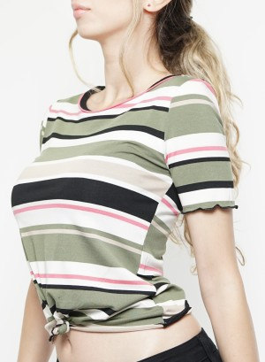 Short sleeves tie-front stripe crop top. NJ197418M-Olive-Black
