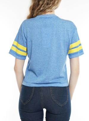 Short sleeve V neck top. Nj29T603-Ultra Blue