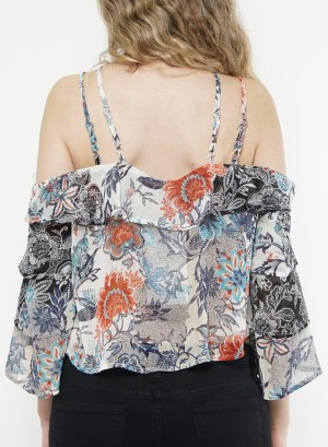 Cold-shoulder ruffle-layered sleeves floral chiffon crop top.NT024648-Ivory Floral