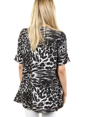 S/SLEEVE 2-POCKET ANIMAL PRINT SHIFT DRESS. FH-ATP2242HC-GREY/BLACK