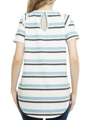 Short Sleeves Cut-Out Back StripeTop P1278A-Ivory/Blue