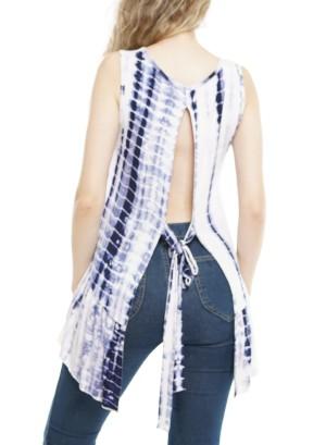 Sleeveless Open Tie-Back Knot, Tie-Dye Top  P1641-Ivory