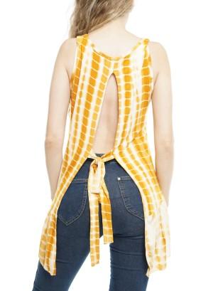 Sleeveless Open Tie-Back Knot, Tie-Dye Top  P1641-Gold