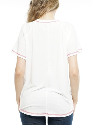Short Sleeves Round Neck StripeTop P1792A-Ivory/Fuchsia