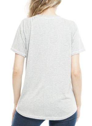 Short Sleeves Round Neck StripeTop P1792A-Grey/Navy