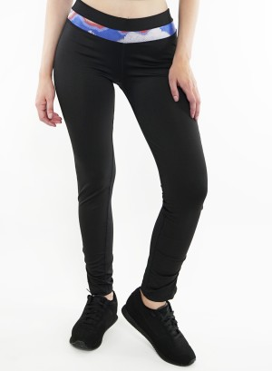 Stretched active leggings. P5003-Black-Blue