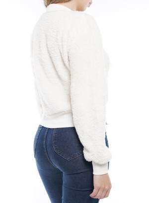 Long Sleeve Woobie Half-Zip Sweater. PFTK9625-Ivory
