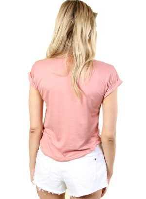 WOMEN'S SHORT SLEEVE TOP WITH ZIPPER POCKET. FH-21099-MAUVE