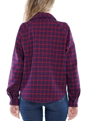 Long Sleeve front short back long Button-Down  Plaid Top  7AST2WF013-Red-Navy