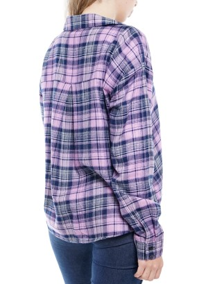 Long Sleeve front short back long Button-Down  Plaid Top  7AST2WF013-Lilac-Purple