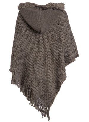 Hooded Knit Plus Size Poncho with Cable Detail and Fringes- Accented V-Cut Hemline NW-B14707X-GRAY