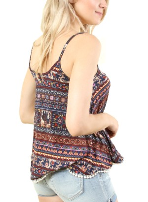 Women's sleeveless printed top. FH-PST2445-NAVY