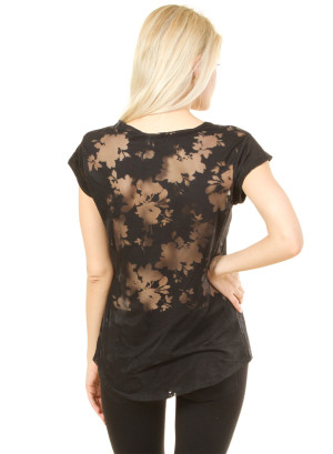 .Scoop neck see through top featuring a floral pattern. WH-RN44480-BLACK