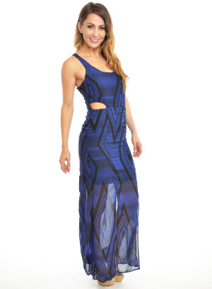 A sleeveless, round neck, cutout sides, partially lined chiffon printed long dress with front slits. WH-INR9937CJD-BLACK/BLUE