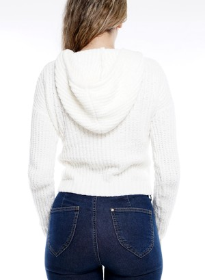 Long Sleeve Front Pocket  Drawstring Hooded Sweater SB-130072-Ivory