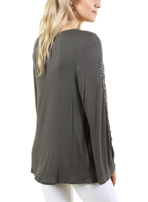 Women's long sleeve scoop neck top with tie on collar. FH-177303-CHARCOAL