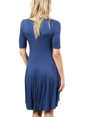 Women's half-sleeved dress with round neck collar. FH-PSJ1202-BLUE