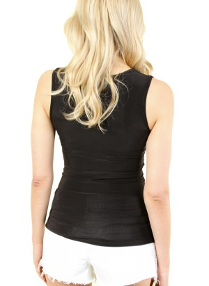 WOMEN'S SLEEVELESS LOW V-NECK TOP. FH-4147-BLACK