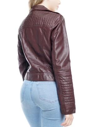 Side Zipper with pockets Biker Jacket. SO-1001-Wine