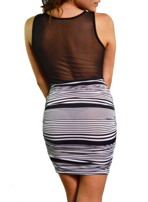 Tank bodycon striped dress with sweetheart mesh front and mesh mid-back, ruched sides-WH-SD7231-BLACK/WHITE
