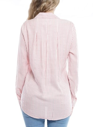 Long sleeves button-down front pocket striped top. 013020679-Pink/White