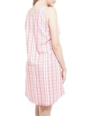 Sleeveless V-neck Side button-down Stripe Dress. 013090099-Red/White