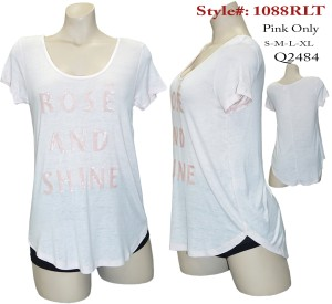 "Short sleeves "" ROSE AND SHINE"" SEQUIN PRINT TOP. 1088RLT-PNIK"