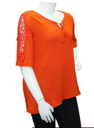 Crochet-detail flutter  sleeves printed Plus size top.286A-RED
