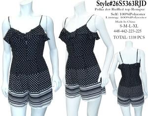 Ruffled spag straps polka dot/floral romper. 26S5363RJD-Black/white