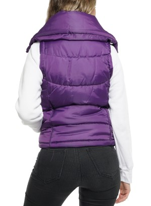 Zipper Front Side Pockets Lightweight Puffer Vest 630304641571-Purple