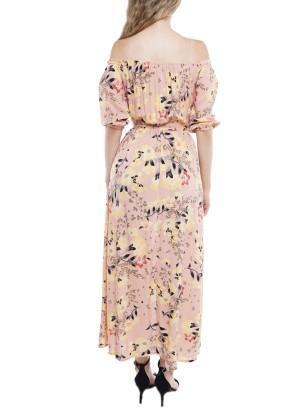 Drawstring Off Shoulder Mid Slit  Floral Romper Maxi Dress FDW6683-Blush