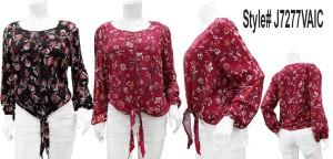Long sleeves tie-front floral top.  J7277VAIC-BLACK FLORAL