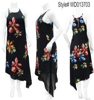 Drawstring halter-neckline, solid-chiffon yoke, floral printed asymmetrical hem dress.WD013703-BLACK FLORAL