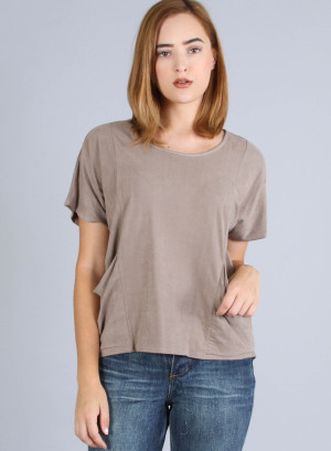 Scoop neck, short sleeve suede t-shirt with piping and 2 slanted front pockets and hi-low hem-T10931-KHAKI