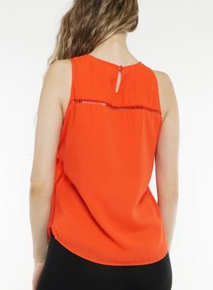 Sleeveless crochet detail cutout back top T80143R-02W-Orange