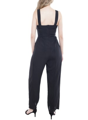 Sleeveless Button-Up Zipper-Back Wide-Leg Jumpsuit. TD1789-AGK-Black