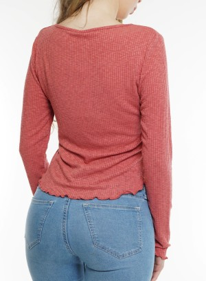 Long sleeves ruffle-trim V-neck ribbed top. TKEAG23475-Marsala