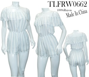 RUFFLED-OFF SHOULDER STRIPE ROMPER. TLFRW0662-BLUE/WHITE