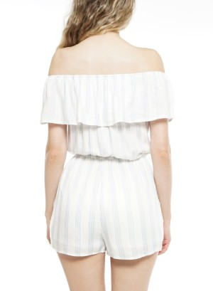 Ruffle off shoulder-stripe Romper. TLFRWO662-White/Blue