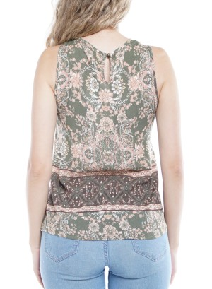 Sleeveless Embroidery Detail Cut-Out Back Floral Top  TW3101-259A-Olive