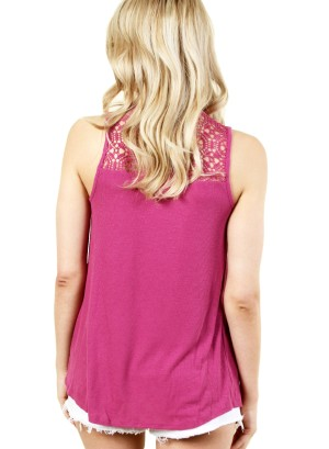 WOMEN'S SLEEVELESS LACE TOP. FH-F00242402-MAGENTA