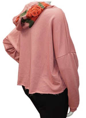 EMBROIDERED ROSE APPLIQUE HOODIE DRAWSTRING,FRENCH TERRY LINING PLUS SIZE SWEATSHIRT. W07R002A-PINK