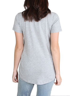 Scoop neck pocket tee with verbage-WH-24AE2096A-GREY