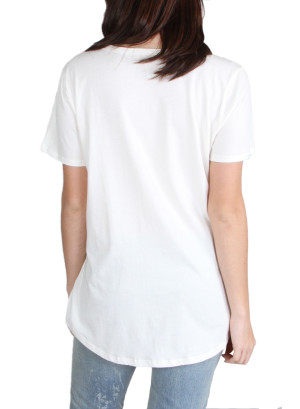 Scoop neck pocket tee with verbage-WH-24AE2096A-IVORY